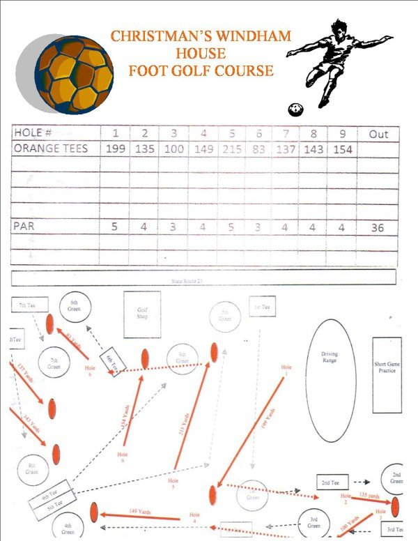 CHRISTMAN'S FOOT GOLF COURSE SCORE CARD